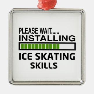 Installing Ice Skating Skills Metal Ornament