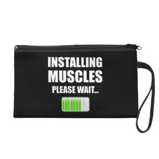 Installing Muscles Please Wait Wristlet Purses