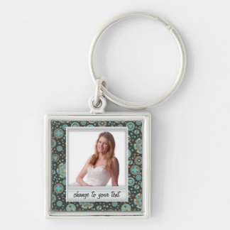 Instant photo - photoframe with pattern Silver-Colored square keychain