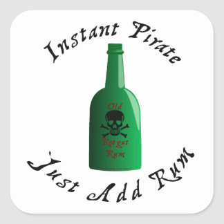Instant Pirate Just Add Rum Square Sticker