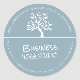 Instructeur chic élégant de méditation de yoga sticker rond