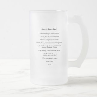 "Instructions for ""How to Toast"" Beer Glass Frosted Glass Beer Mug"