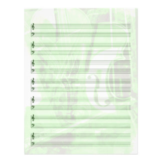 Instrument-Themed Staff Paper in Green