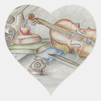 Instruments music heart sticker