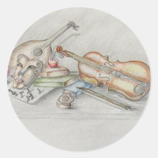 Instruments music round sticker