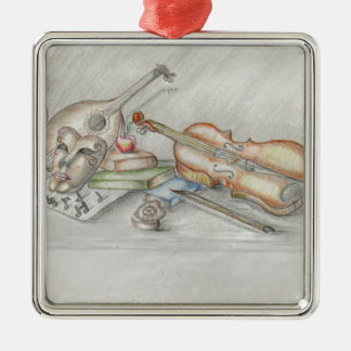 Instruments music Silver-Colored square ornament