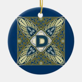 Intaglio Monogram Letter D Round Ceramic Ornament
