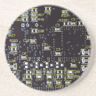 Integrated Circuit Board With Components Drinks Coaster