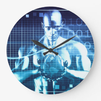 Integrated Technologies on a Global Level Concept Large Clock