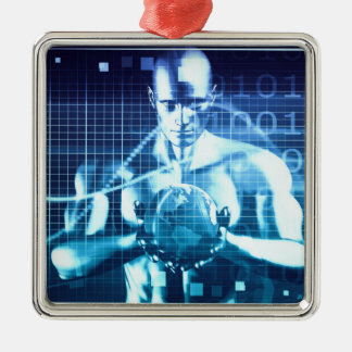 Integrated Technologies on a Global Level Concept Metal Ornament