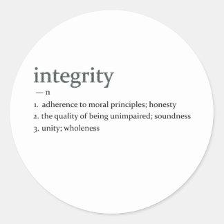 integrity round sticker