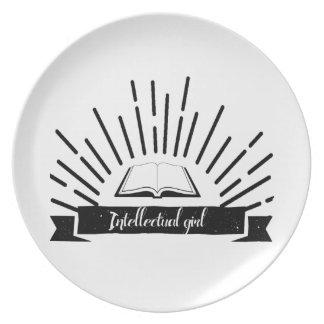 Intellectual Girl Funny Nerd Slogan Print Plate