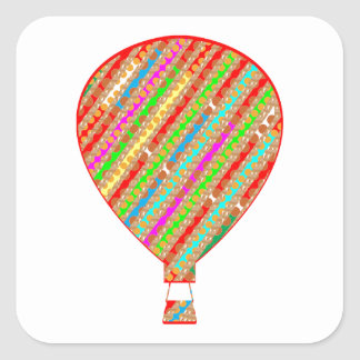 Intense Color ARTISTIC Stripes Balloons Square Sticker