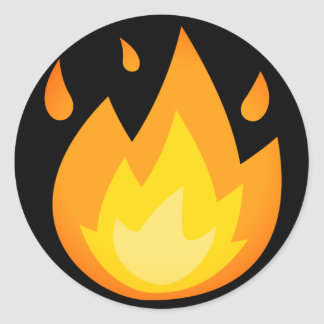 Intense Fire Emoji Classic Round Sticker