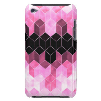 Intense Pink & Black Geometric Design Barely There iPod Covers