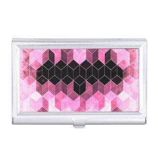 Intense Pink & Black Geometric Design Business Card Holder