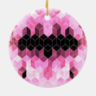 Intense Pink & Black Geometric Design Ceramic Ornament
