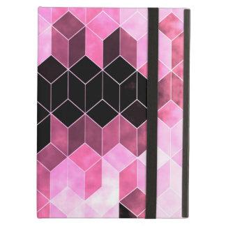 Intense Pink & Black Geometric Design iPad Air Cover