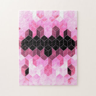 Intense Pink & Black Geometric Design Jigsaw Puzzle