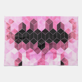 Intense Pink & Black Geometric Design Kitchen Towel