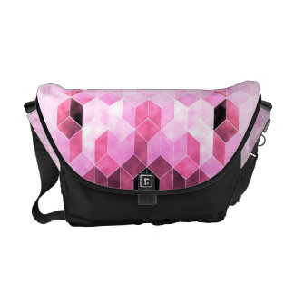 Intense Pink & Black Geometric Design Messenger Bags