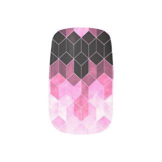 Intense Pink & Black Geometric Design Minx Nail Art