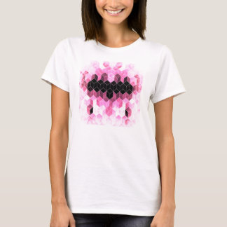 Intense Pink & Black Geometric Design T-Shirt