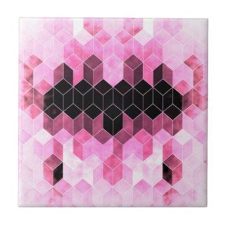 Intense Pink & Black Geometric Design Tile