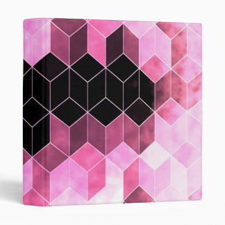 Intense Pink & Black Geometric Design Vinyl Binder