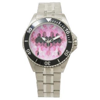 Intense Pink & Black Geometric Design Watch