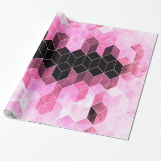 Intense Pink & Black Geometric Design Wrapping Paper