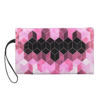 Intense Pink & Black Geometric Design Wristlet