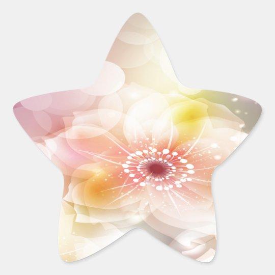Intense Pink Flowers Star Sticker