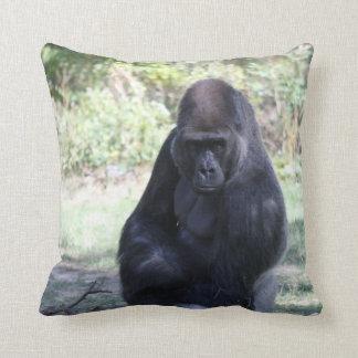 Intense stare gorilla throw pillow