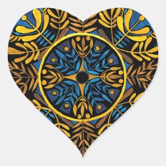 Intensity - contrast mandala pattern heart sticker