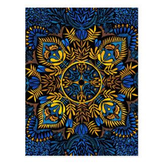 Intensity - contrast mandala pattern postcard