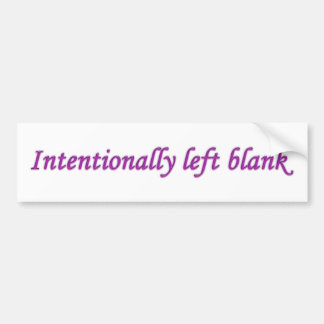 Intentionally Left Blank Purple Bumper Sticker