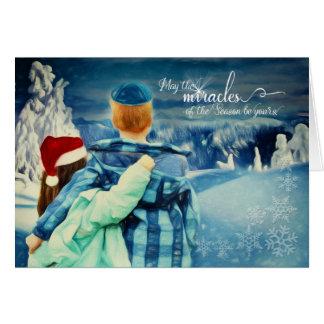 Interfaith Boy in a Kippah - Girl in a Santa Hat Card