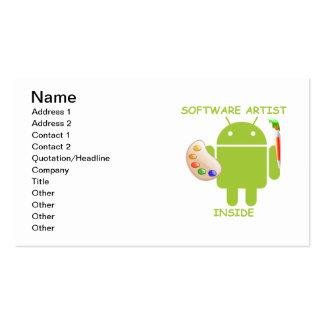 Intérieur d artiste de logiciel palette de brosse cartes de visite personnelles