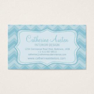 Interior design chevron zigzag blue business card