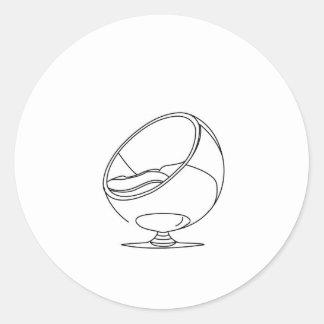 Interior design- egg chair round sticker