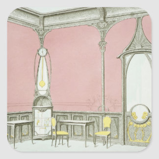 Interior design for a brasserie, illustration from square stickers