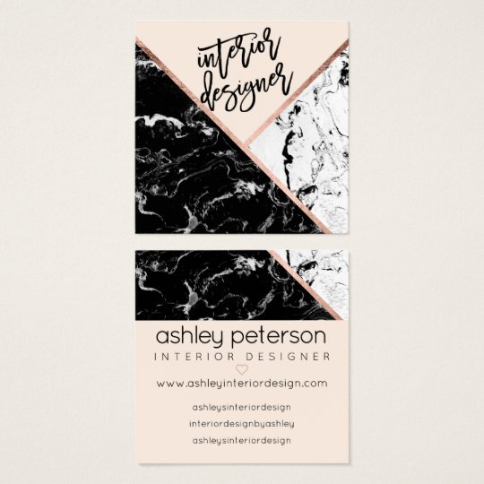 Interior design typography rose marble colour square business card