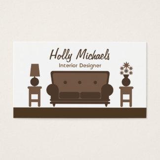 Interior Designer - Brown Living Room Business Card