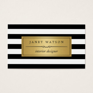 Interior Designer - Classic Black White Stripes Business Card