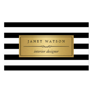 Interior Designer - Classic Black White Stripes Pack Of Standard Business Cards
