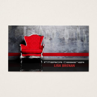 Interior Designer Red Chair Room Decor Living Home Business Card