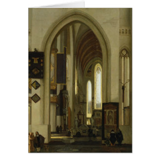 Interior of a Church with Figures, 1685 Greeting Card