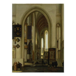 Interior of a Church with Figures, 1685 Poster