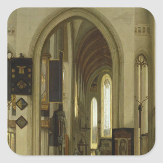 Interior of a Church with Figures, 1685 Square Sticker
